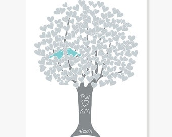 Gift for Parents Anniversary - Silver 25th Anniversary Heart Tree - Love Tree Art Print Monogram Name Date - Engagement Shower Wedding