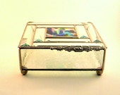 "Glass Box, Stained Glass, 7 x 7"", Wedding, Silver, 8 Beveled Lid, Mother of the Bride, Mother of the Groom, Gift For Her, Fall Wedding"