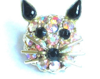 Private Collection Designer Vintage Figural Cat head Brooch Pin Aurora Borealis Pave Amber AB Rhinestones