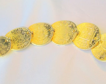Vintage Carolee Signed Large Coin Bracelet, Each Coin is a Different President's and Rulers