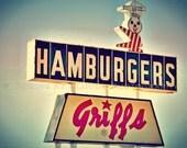 Griffs on Route 66 art photo, kitschy advertising, retro restaurant sign, mmmm...hamburgers