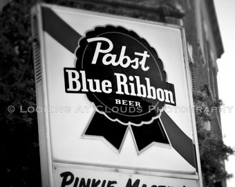 Pabst Blue Ribbon bar art photo,  PBR beer, Pinkie Master's Bar Savannah, vintage bar art, black and white bar decor