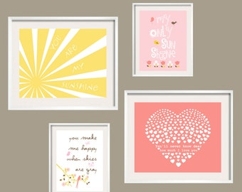 Little Girl Bedroom decor in pink coral yellow You Are My Sunshine prints for Rosette Bedding, sun flowers birds heart 11x14 and 8x10 set