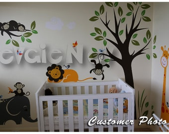 Children Wall Stickers  - Monkeys on the Tree with Giraffes, Elephants, Lion and Birds - PLMG050