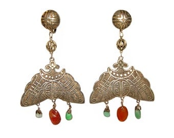Antique Chinese Silver Earrings, Jade and Carnelian, Art Deco, Vintage