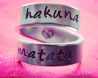 Hakuna Matata aluminum swirl  ring