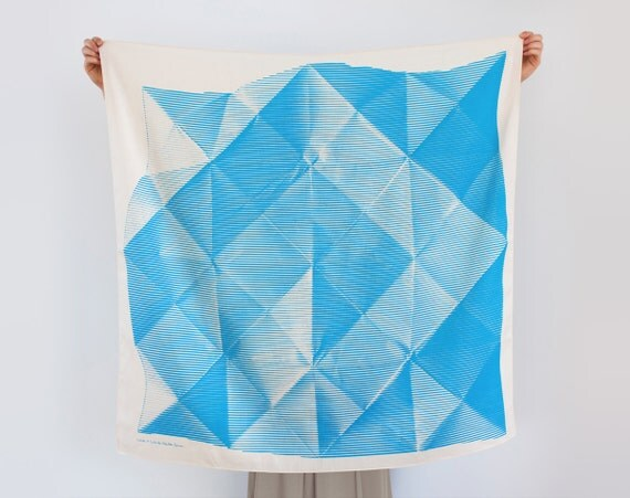Folded Paper furoshiki (blue) Japanese eco wrapping textile/scarf, handmade in Japan
