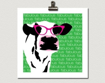 Fabulous Cow in Pink Movie Star Eye Glasses Poster Print