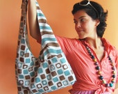 OOAK Messenger Tote Bag Birthday, Coffee time teal, brown, squares, waves italian design Designer Fabric
