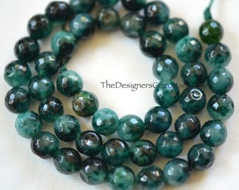 Multi Colored Emerald Green Fire Agate Faceted Rounds 8mm -1/2 STRAND