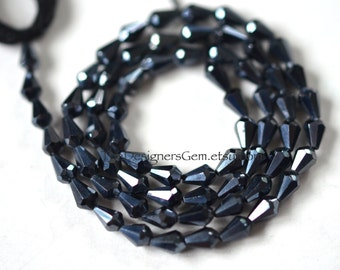 Small Black Metallic Coated Spinel Micro Faceted Cone Tear Drop Beads 5 x 4mm - 1/2 Strand
