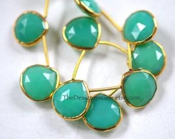Bright Green Chrysoprase Heart Briolettes, Gold Chrysoprase Rimmed Beads, Chrysoprase Bezeled beads, 16 x 16mm