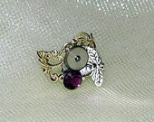 Ring,Steampunk Ring,Watch parts ring,Honey Bee ring,Purple,OOAK,Adjustable ring,Ready to ship