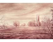 "Wine Painting - ""Looking Back On Mile 5, Princeton Graduate Colleg """