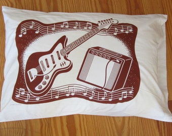Guitar Pillowcase Set/Maynard's Mousetrap /chocolate brown/Amps/Vintage Guitars/Music Accessories/Pillows