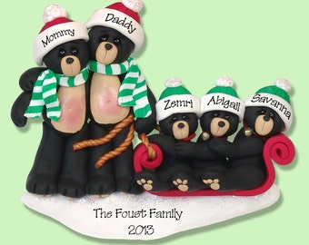 Black Bear Family of 5 in Sled HANDMADE POLYMER CLAY Personalized Christmas Ornamentiiiuu