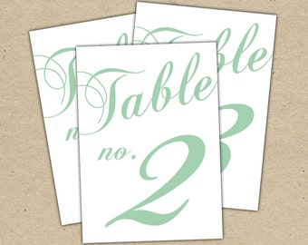 Instant Download - Classic Table Numbers Templates in Seafoam, mint, greenl - modern design DIY. Wedding reception (1-10)
