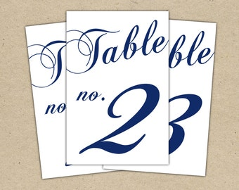 Instant download classic table numbers templates in navy for Table numbers for wedding reception templates