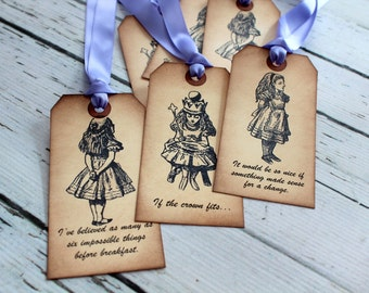 Alice in Wonderland Vintage Inspired Tags - Alice with Quotes - Set of 6