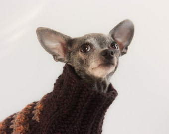 Au Behave! Aubergine, Mosaic Textured, Dog Sweater. XXS, Handknit for Chihuahuas, Yorkies