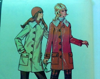 Vintage McCall's 3010 Car Coat Jacket Faux Fur Collar 1970s Sewing Pattern 34 to 36 Bust