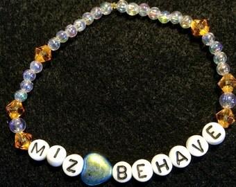 Gifts for Girls,Letter bracelet, MizBehave ,Beaded Bracelets for Children,Misbehave,Alphabet letters, jewelry bracelet, kawaii,birthday gift