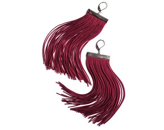 Burgundy Short Fringe Earrings.Bordeaux Shoulder Dusters.Cardinal Red Statement Earrings.Sangria Tassel Earrings.Crimson Chandelier.Cherry
