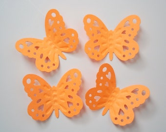 50 Large Bright Orange Embossed Butterfly punch die cut cutout scrapbooking embellishments - No1026