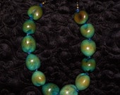 sale Vintage Green Beaded Necklace Perfect Condition