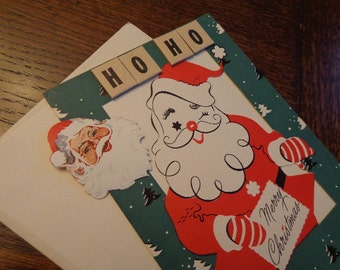 Vintage SANTA Ho Ho Packet, 1950s Lg Gift Wrap/Card, Seal,1930s Vintage Letters from Santa, Christmas Store Display, Name Option, IDEAS