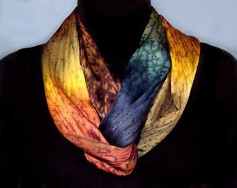 Earth Tone Silk Infinity Scarf