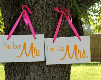 """6"""" x 10"""" Wooden Wedding Sign: 2pc Set Double sided - I'm her Mr. & I'm his Mrs. and Thank you"""