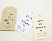 Love is Sweet Tag,  Bridal Shower, Party Favor, Gift Tag, Candy Buffet, Cupcake, Wedding Cake, Take Away Gift - Set of 25 (SMGT-KTP)