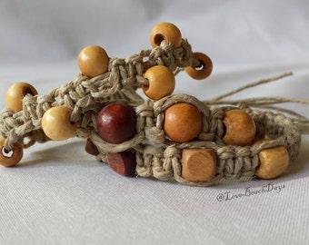 Hemp Bracelet Set: 3 Wood Beaded Macrame Hemp Bracelets