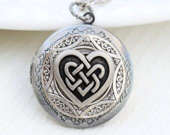 Celtic Knot,Celtic Knot Hear,Claddagh,Antique Locket,Silver Locket,Irish,Lucky, Silver Celtic Friendship Locket,