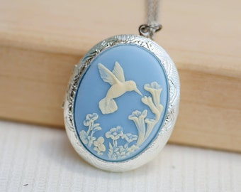 Large Hummingbird Locket,Locket,Silver Locket,Image locket,picture locket,Wedding Necklace,Flower,Blue Locket