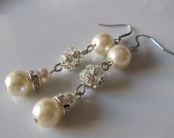 Ivory pearl earrings with ball rhinestone - Bridal earrings - Bridesmaids earrings