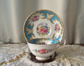 Vintage Teacup and Saucer Royal Grafton English Teacup and Saucer Set Wedding Gift Mother of the Bride Cup and Saucer Vintage 1950s