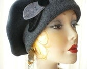 Women's Black and Charcoal Gray Polar Fleece Beret with Handmade Velvet Leaves and Button