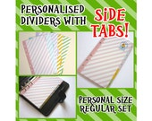 SIZE: PERSONAL (Side Tabs / Regular Set) Personalised Pastel Stripe Dividers with Tabs Cute Kawaii Custom Made Filofax