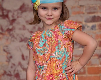ON SALE Aqua Serene Girls Dress Paisley Dress Sizes 2t Through 8y Available