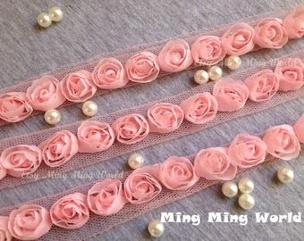 Rose Chiffon Lace Trim - 4 Yards Pink Chiffon Rose Lace (C13)