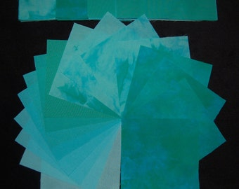 5 Inch Precut Quilt Squares, BLUE GREEN MEDLEY, 64 Hand Dyed Charm Squares, Pre-Shrunk and Colorfast