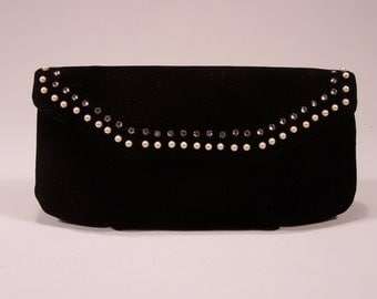 Black Velvet Eveing Clutch Purse with Rhinestones and Pearls - by Magid - Satin Lining