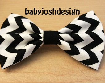 Black and white chevron hair bow for teens or women,girls hair bows,basic hair bows , Hair Bows