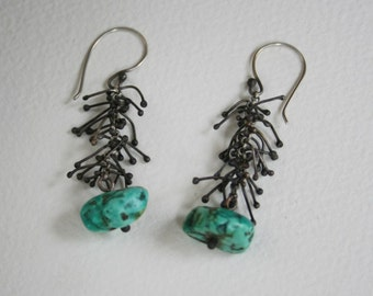 Turquoise and Silver Twig Earrings