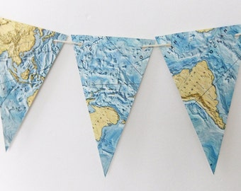 Vintage World Map Bunting - Beach House Banner - Eco-friendly garland, upcycled atlas