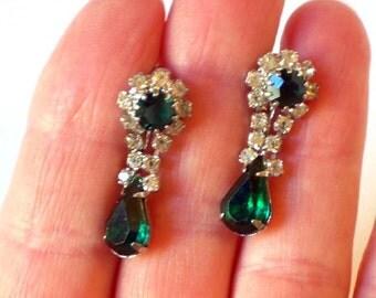 Vintage Green Rhinestone Dangle Earrings Vintage Victorian Edwardian Downton Abbey