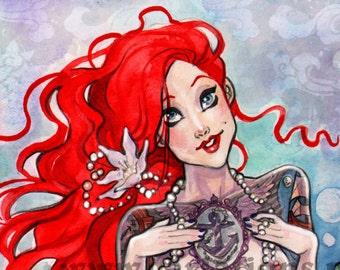 The Little Mermaid inpsired watercolor tattoo adult fairytale Art Print Carla Wyzgala carlations