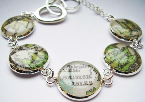 Silver Plated British Isles Vintage Map Bracelet - England, Scotland, N.Ireland and Wales